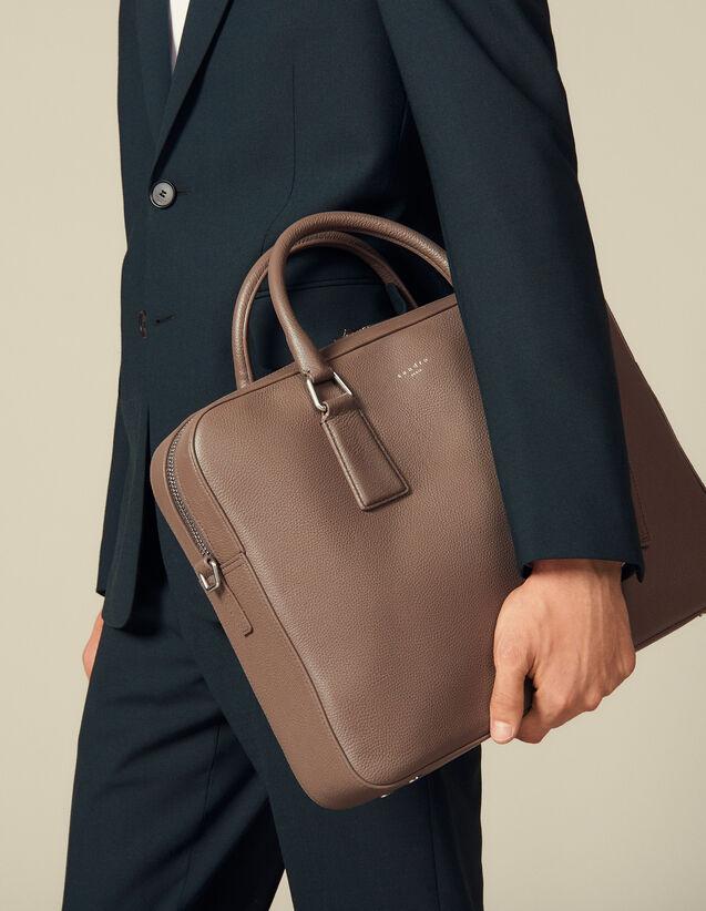Aktentasche Aus Genarbtem Leder : Briefcases farbe Taupe