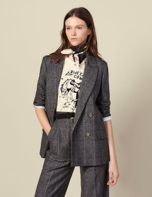 Kostümjacke mit Karomuster : Blousons & Jacken farbe Grau