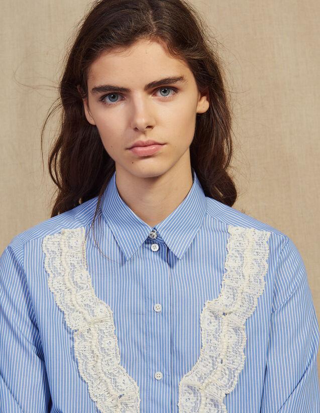 Hemdbluse Mit Streifen Und Spitzendetail : Bedrucktes Hemd farbe Sky Blue