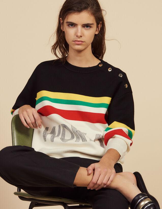 Pullover Mit Streifen Und Schriftzug : Pullover & Cardigans farbe Schwarz