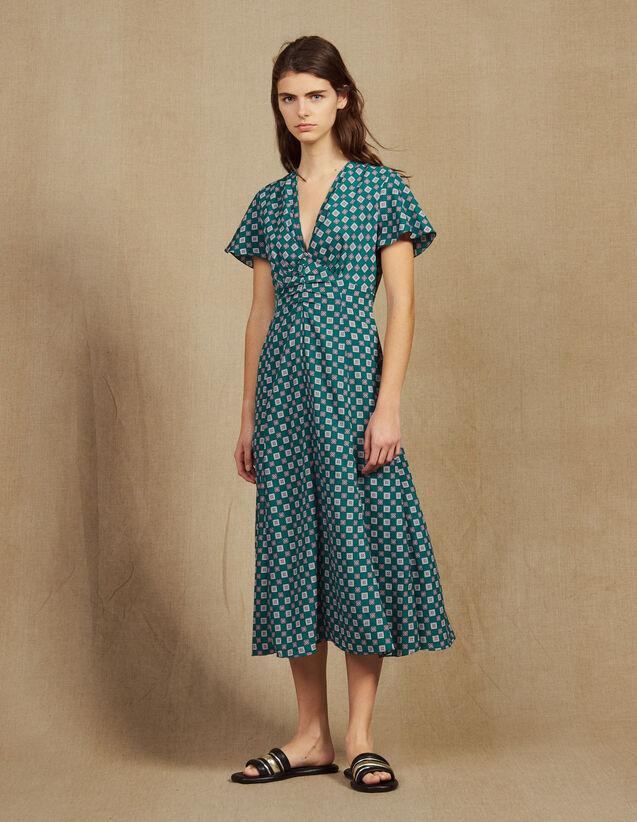 Fließendes Kurzarm-Kleid Mit Print : Kleider farbe Grün