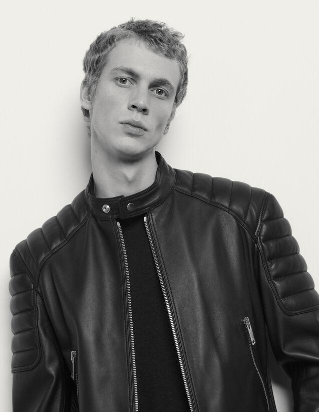 Blouson aus Leder mit Absteppungen : Blousons & Jacken farbe Schwarz