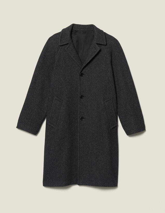 Langer Mantel aus Wolle : Trench & Mäntel farbe Grau Meliert