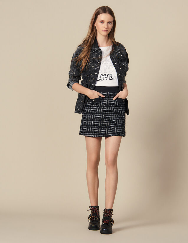 Kurzer Trapezrock aus Tweed : Röcke & Shorts farbe Marine