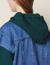 Kapuzen-Cardigan Aus Materialmix : null farbe Grün