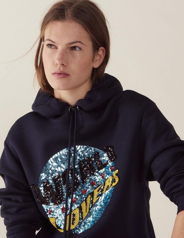 Kapuzen-Sweatshirt Mit Paillettenbesatz : Sweatshirts farbe Marine