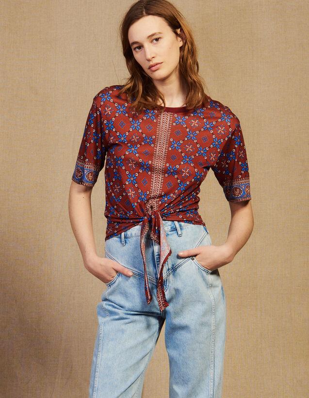 Bedrucktes T-Shirt Zum Binden : T-shirts farbe Bordeaux