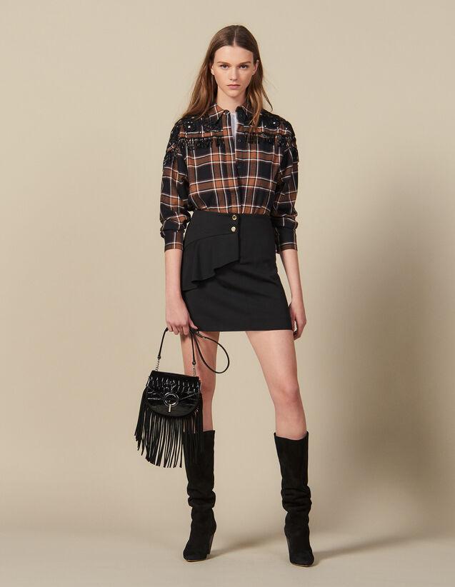 Kurzer Rock Mit Asymmetrischem Volant : Röcke & Shorts farbe Schwarz