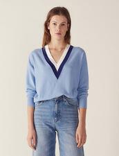 V-Pullover Mit Zweifarbiger Rippung : null farbe Sky Blue