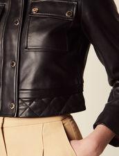 Kurze Lederjacke : null farbe Schwarz
