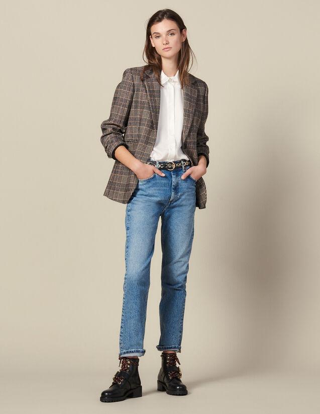 Gerade Geschnittene, Verwaschene Jeans : Jeans farbe Blue Vintage - Denim