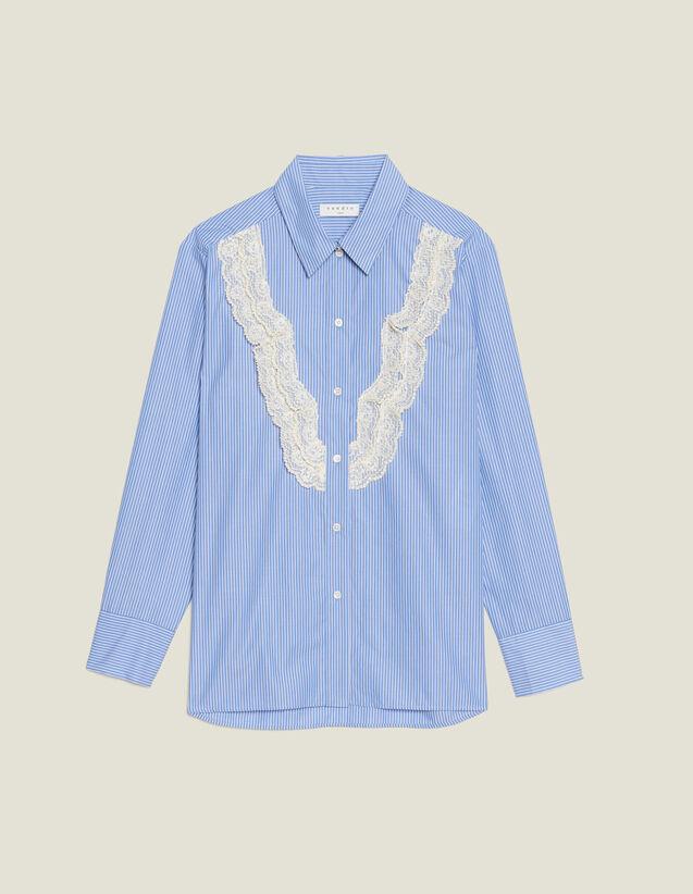 Hemdbluse Mit Streifen Und Spitzendetail : null farbe Sky Blue