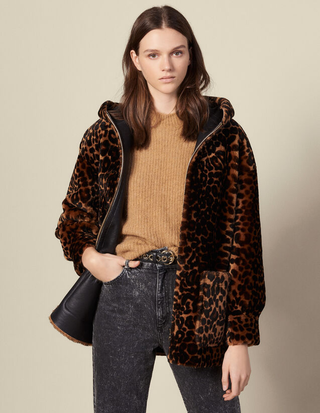 Mantel aus bedrucktem Fellvelours : Mäntel farbe Leopard