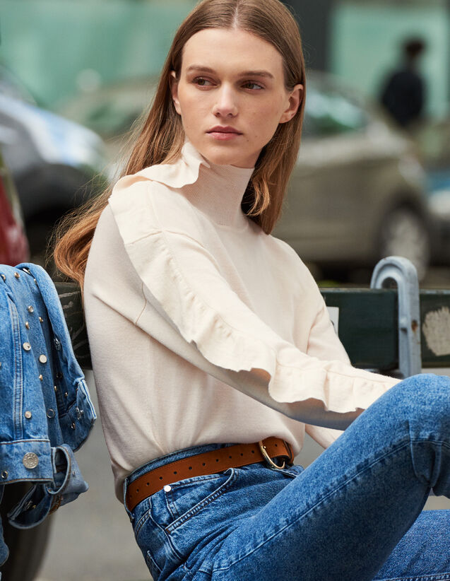 Pullover Mit Asymmetrischem Volant : New In farbe Hautfarbe