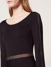 Langes Strickkleid Mit Freiem Rücken : null farbe Schwarz