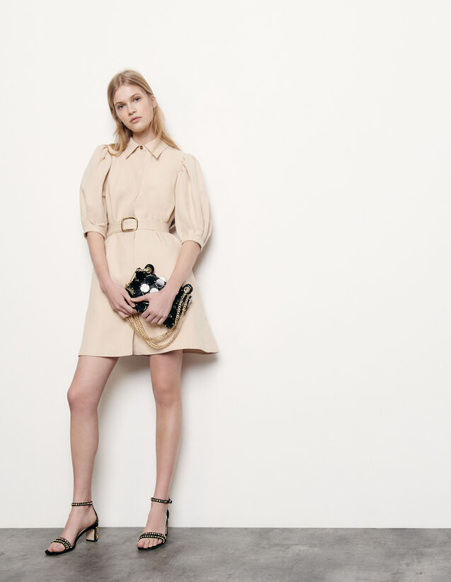 Mantelkleid aus Baumwolle und Leinen : Kleider farbe Beige