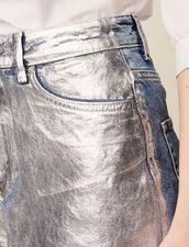 Jeansrock Mit Silberner Beschichtung : null farbe Silber