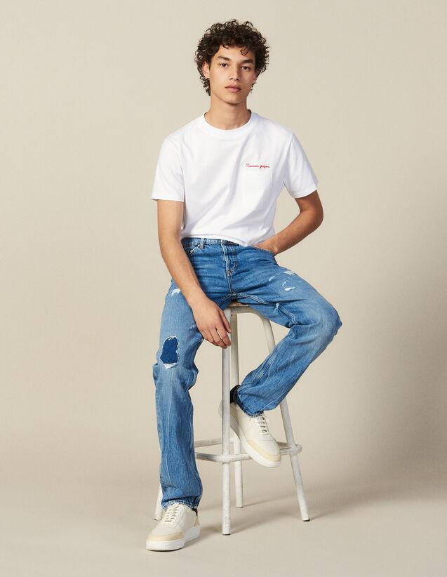Slim Destroy-Jeans Aus Baumwolle : Winterkollektion farbe Blue Vintage - Denim