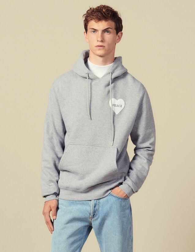 Hoodie aus Baumwolle mit PEACE-Patch : Sweatshirts farbe Grau Meliert