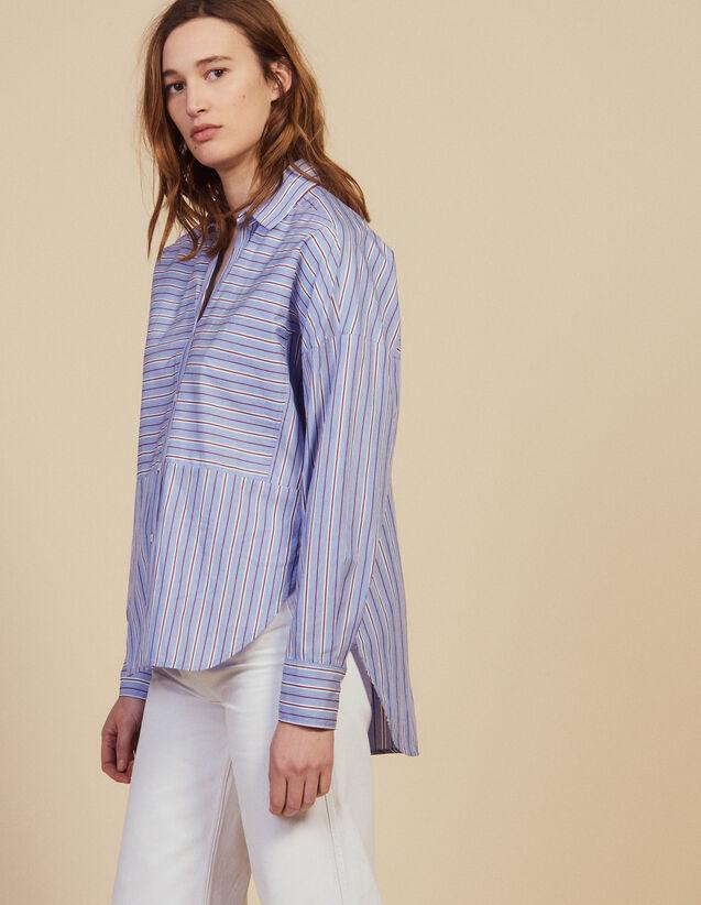 Baumwollhemd Mit Streifen : Bedrucktes Hemd farbe Blau