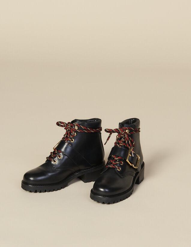 Ranger-Stiefel aus Glattleder : LastChance-ES-F40 farbe Schwarz