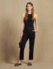 Hose mit Satineinsatz : Hosen farbe Schwarz