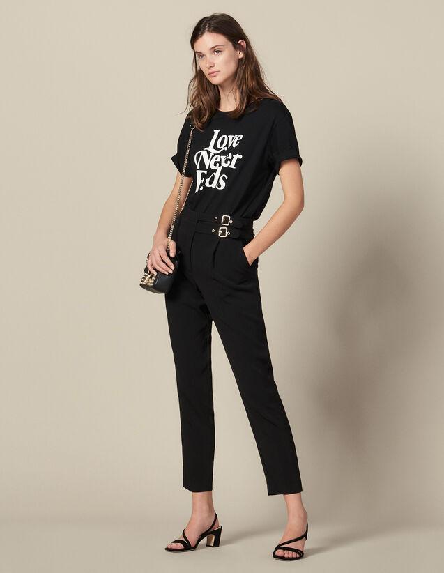 Hose mit hoher Taille und Schnallen : Hosen farbe Schwarz