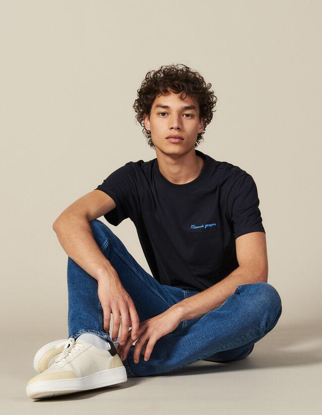 Baumwoll-T-Shirt Mit Schriftzug : Die ganze Winterkollektion farbe Marine