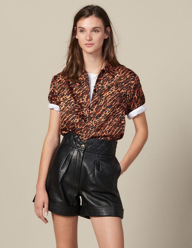 Ledershorts Mit Gestepptem Taillenbund : Röcke & Shorts farbe Schwarz
