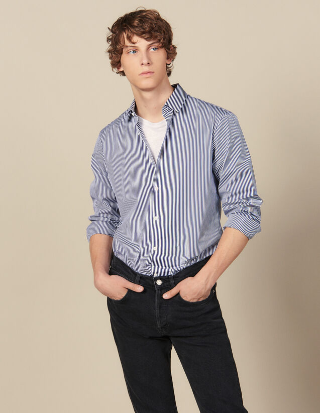 Gestreiftes Hemd : Winterkollektion farbe Marine/Weiss