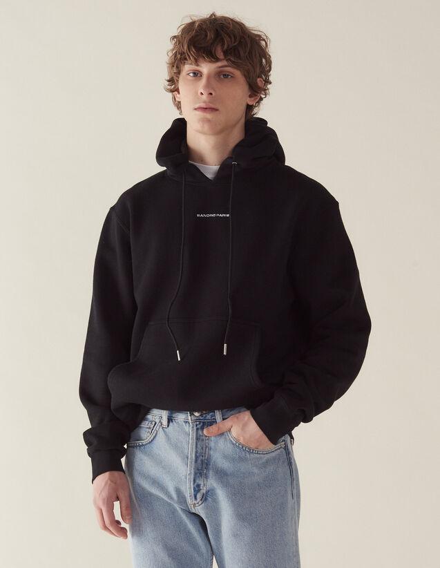 Kapuzen-Sweatshirt mit Logo-Stickerei : Sweatshirts farbe Schwarz