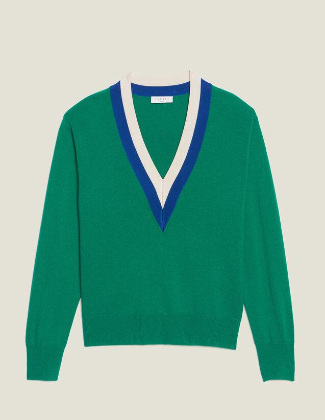 V-Pullover Mit Zweifarbiger Rippung : Pullover & Cardigans farbe Grün