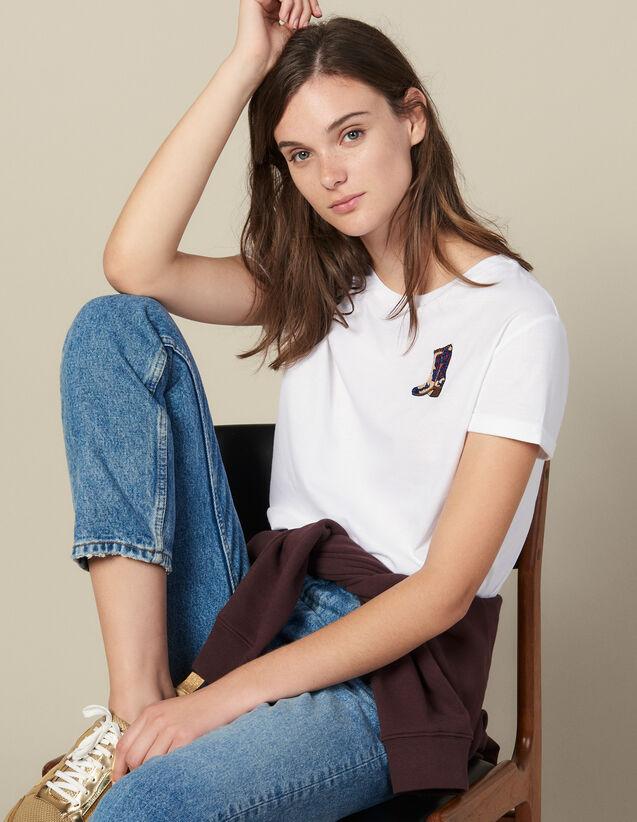 T-Shirt Mit Aufgesticktem Patch : T-shirts farbe Weiß