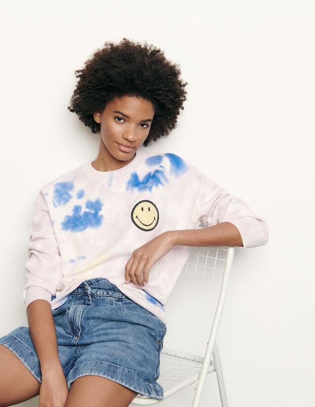 Tye Dye Pullover mit Smiley-Stickerei : Sommerkollektion farbe Bunt