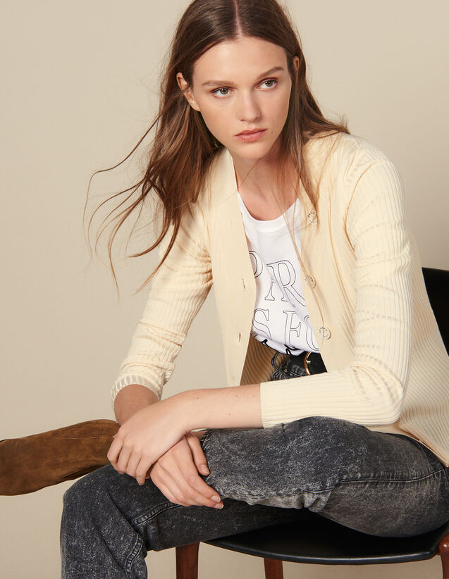 Geknöpfter Cardigan Aus Rippstrick : Pullover & Cardigans farbe Schwarz
