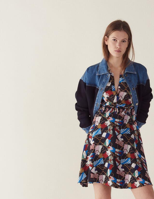 Fließendes Kleid Mit Allover-Print : Kleider farbe Schwarz