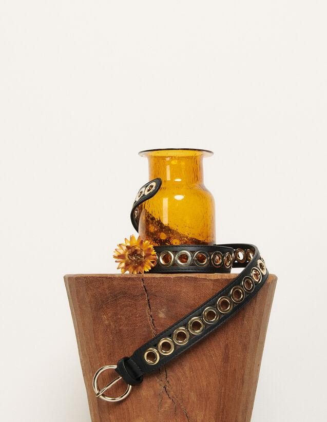 Gürtel mit runder Schließe und Ösen : Die ganze Winterkollektion farbe Schwarz