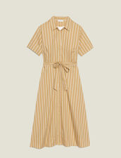 Gestreiftes Hemdkleid Mit Kurzen Ärmeln : null farbe Beige