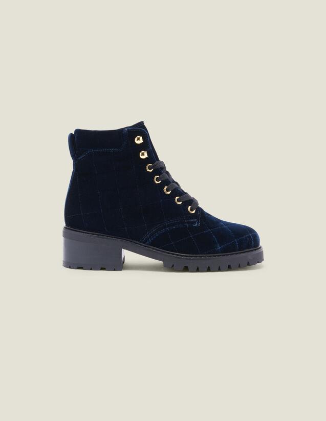 Stiefeletten Aus Gestepptem Velours : Schuhe farbe Marine