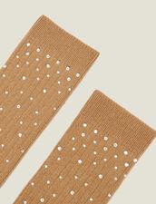 Strümpfe mit Strassverzierung : Socken farbe Camel