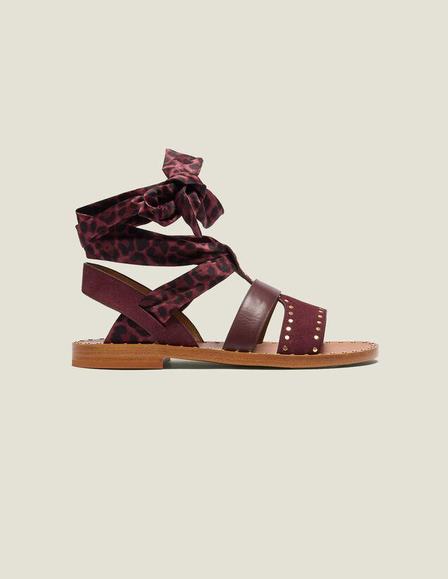 Flache Sandalen Mit Tuch Zum Binden : Schuhe farbe Bordeaux