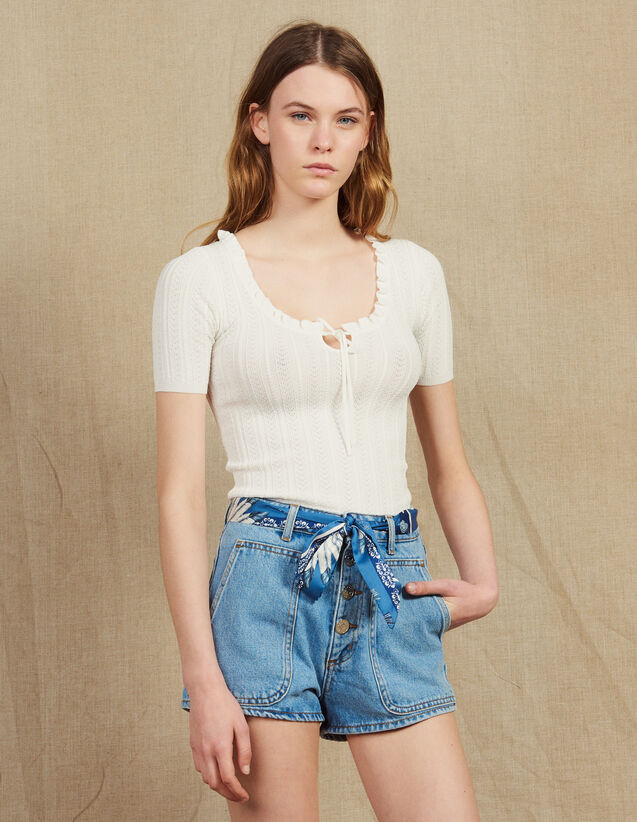 Kurzärmeliges Top Aus Ajour-Strick : Tops & Hemden farbe Weiß