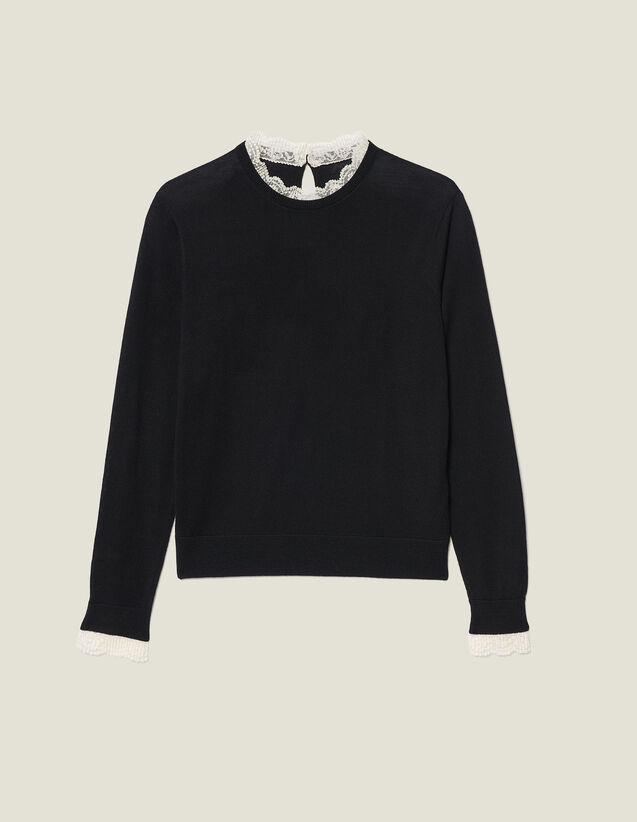 Feiner Pullover Mit Spitzenkante : Pullover & Cardigans farbe Schwarz