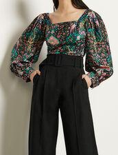 Top aus Seide mit Print : Tops & Hemden farbe Schwarz