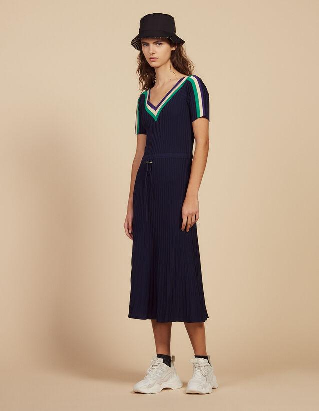 Langes Kleid Aus Sportswear-Strick : Kleider farbe Marine