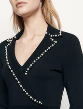 Kurzes Strickkleid mit Reverskragen : Kleider farbe Schwarz