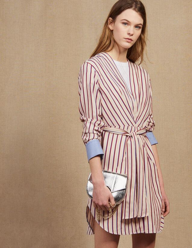 Kurzes Langarm-Kleid Mit Streifen : Kleider farbe Bordeaux