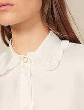 Seidenbluse mit plissiertem Kragen : Tops & Hemden farbe Ecru
