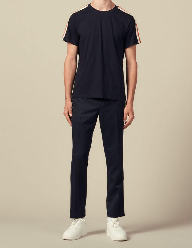 T-Shirt Mit Streifenmuster An Den Ärmeln : Die ganze Winterkollektion farbe Weiß