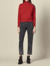Pullover mit Stehkragen und Druckknöpfen : LastChance-ES-F30 farbe Rot